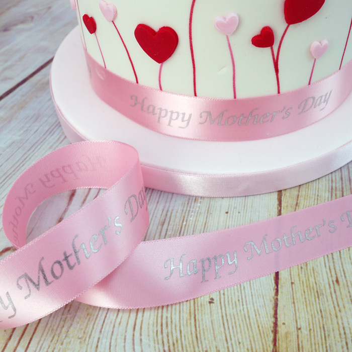 1 Metre Length Of Pink Happy Mother's Day Ribbon