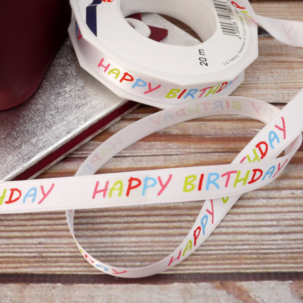 Colourful 'Happy Birthday' Wording On White Ribbon (15mm)