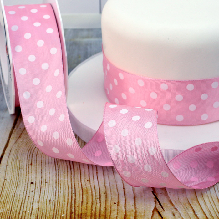 1 Metre Length Of Wide Pale Pink Polka Dot Wired Ribbon