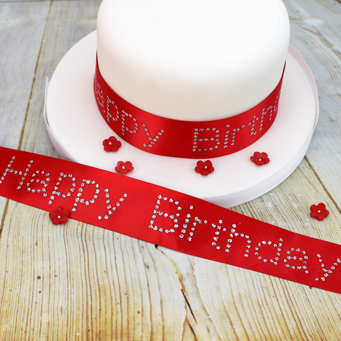 Red Satin  Ribbon With Silver Glitter Happy Birthday
