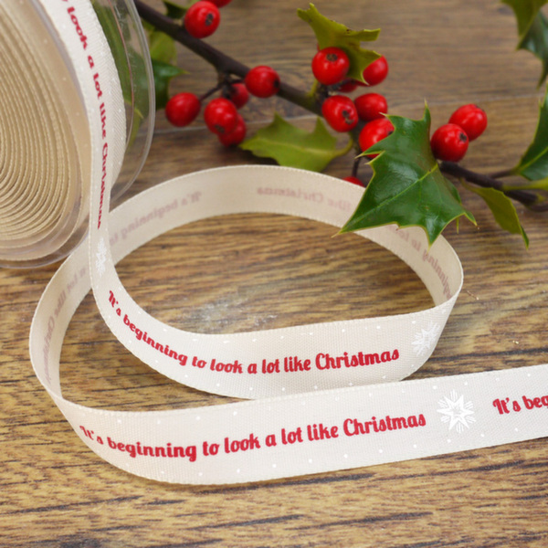 'It's Beginning To Look A Lot Like Christmas' Cream Ribbon