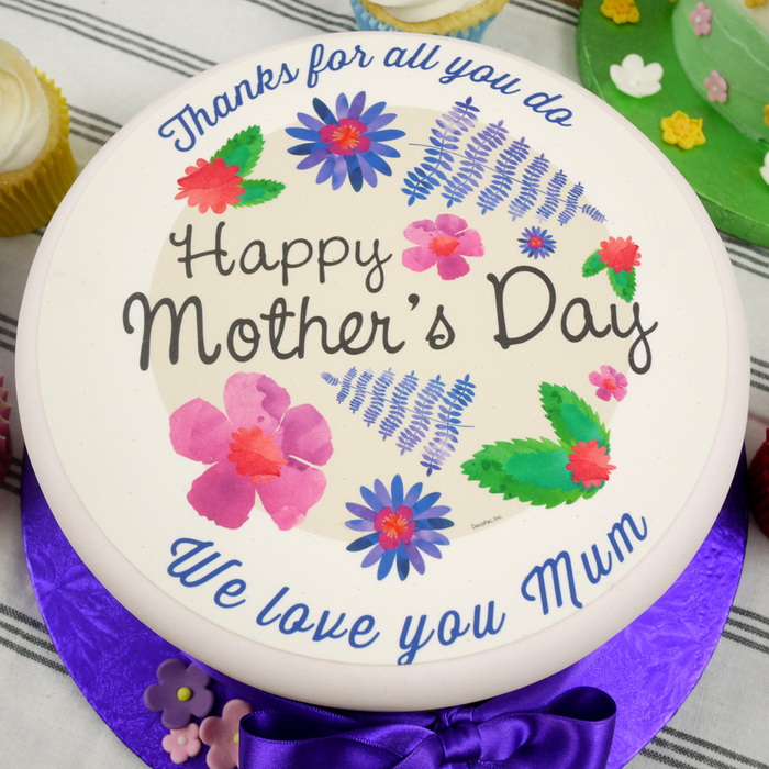 edible mother 39 s day watercolour flowers cake topper optional personalisation. Black Bedroom Furniture Sets. Home Design Ideas