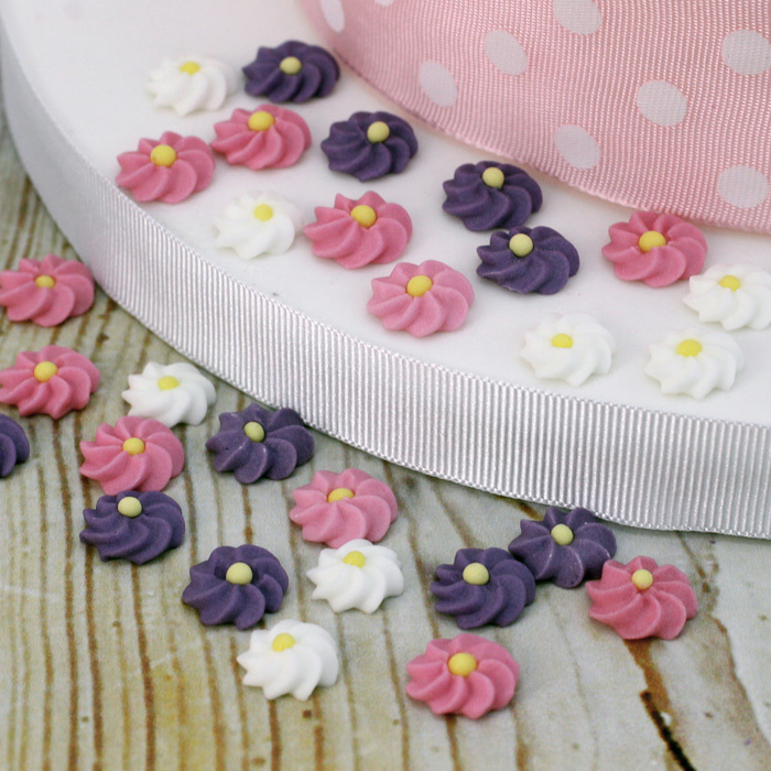 Small pink mauve white icing flowers pack of 28 small pink mauve white icing flowers image 1 mightylinksfo