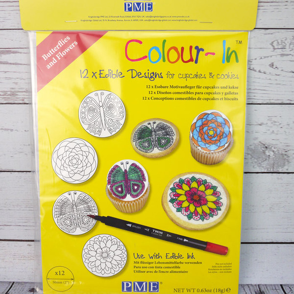 PME 12 x Colour-In Edible Cupcake Plaques - Butterflies And Flowers