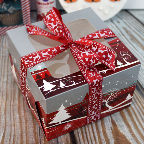 6 Inch Red & Silver Christmas Cake Box With Window