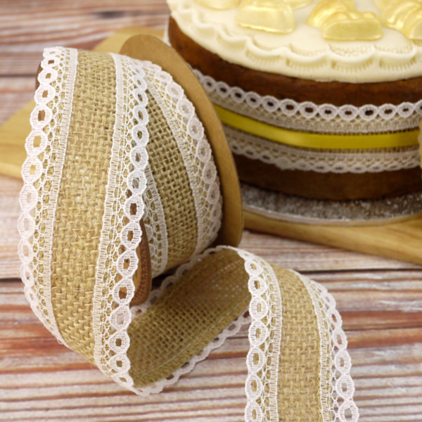 1 Metre Length Of Lace Edged Hessian Ribbon