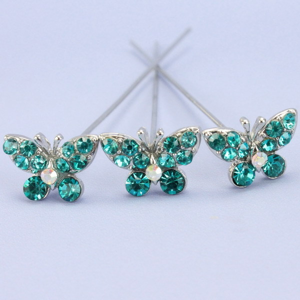 Pack Of 3 Turquoise Diamante Butterflies