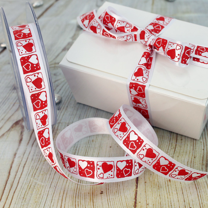 1 Metre Length Of White Ribbon With Red & White Hearts Within Squares Design
