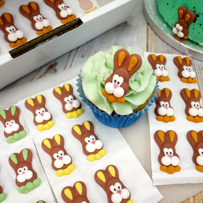Flat Icing Bunny Heads Cupcake Toppers