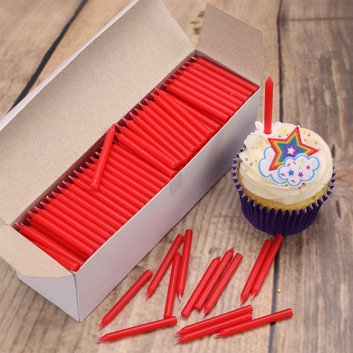 Plain Red Straight Birthday Cake Candles