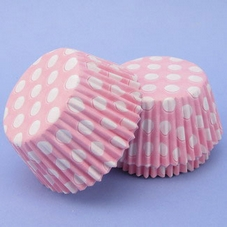 Pack Of 54 Pink With White Spots Baking Cases