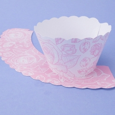 Pack Of 12 Pink & White Line Drawn Rose Cupcake Wraps