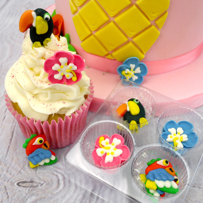 Tropical Sugar Decorations Cupcake Toppers (12Pc.)