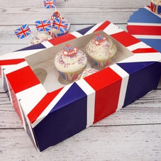 Union Jack 6 Cavity Cupcake Box With Insert