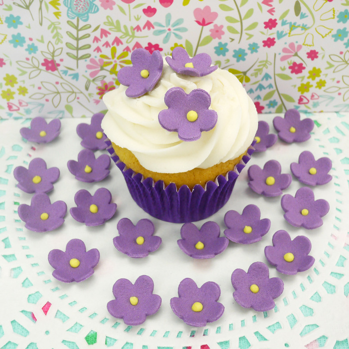 Large Purple Sugar Blossoms For Cakes