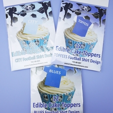 'The Blues' Pack Of 12 Flat Edible Wafer Football Shirts