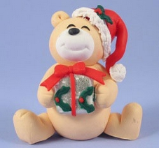Claydough Christmas Teddy Holding Present