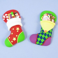 Claydough Set Of 2 Christmas Stockings Plaques