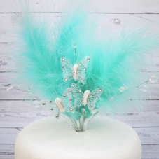 Aqua Feather Cake Top With Gems And Butterflies - image 1