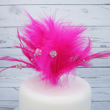 Cerise Feather Spray With Diamantes, Glitter Balls & Plastic Pick