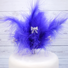Purple Feather Spray With Silver Bows With Pearls