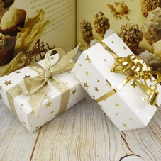White Ballotin Boxes With Gold Star Design