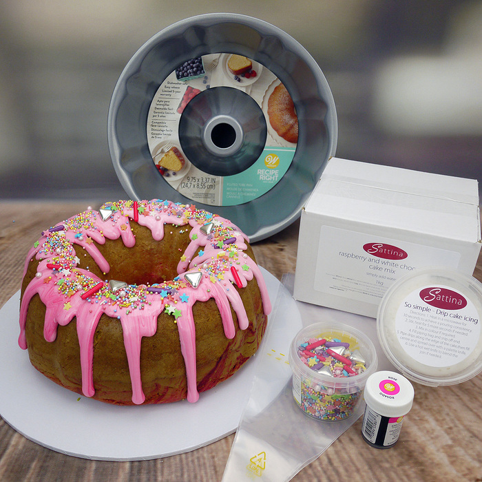 'Let's make A Raspberry Ripple Drip Cake' Baking Box