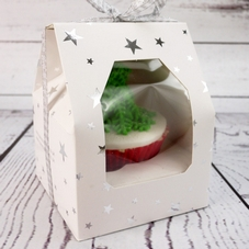 Economy White Single Gable Window Cupcake Box With Silver Stars & Insert