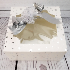 Economy 8 Inch White Window Box With Silver Star Design