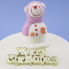 Icing Smiling Snowman With Pink Scarf, Orange & Pink Glitter Ribbon & Motto