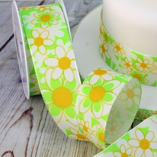 1 Metre Length Of 38mm Green & Yellow Daisy Ribbon