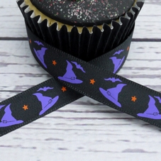 1 Metre Length Of Black Ribbon With Purple Bat & Hat Motifs
