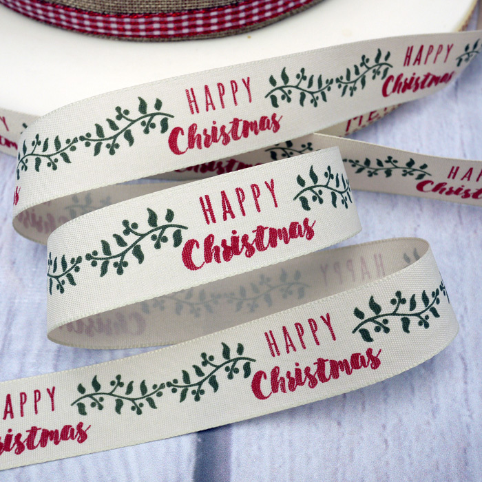 'HAPPY Christmas' Ribbon With Foliage Design