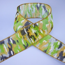 1 Metre Length Of Wide Sheer Camouflage Ribbon
