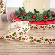 1M Length Of 15MM Cream Ribbon With Holly & Berry Design