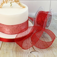 1 Metre Length Of Red Glitter Dot Ribbon