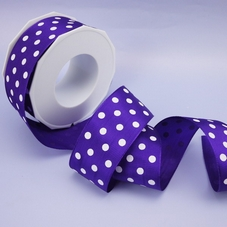 1 Metre Length Of Wide Purple Polka Dot Wired Ribbon