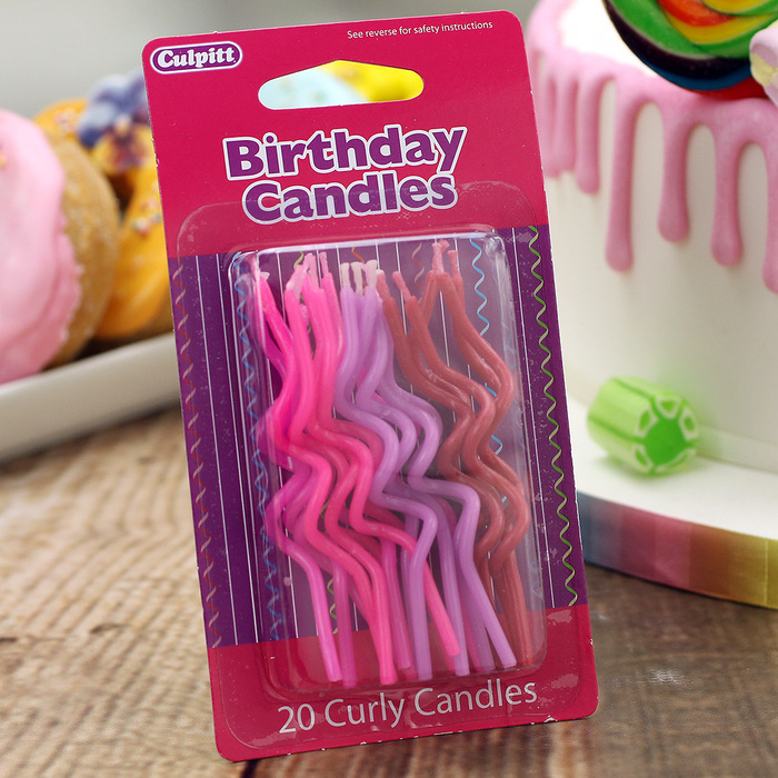 Pack Of 20 Pink Curly Candles
