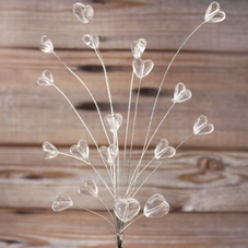 Clear Hearts On Silver Wires And Small Plastic Pick