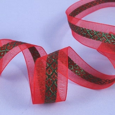 1M Length Of Red Organza Ribbon With Green Design