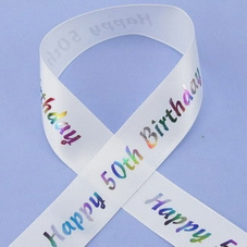 1 Metre Length Of Happy 50th Birthday Ribbon