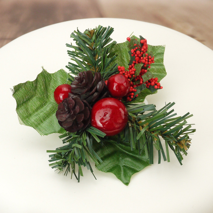 Berries, Holly Leaves & Fir Cones Cake Decoration