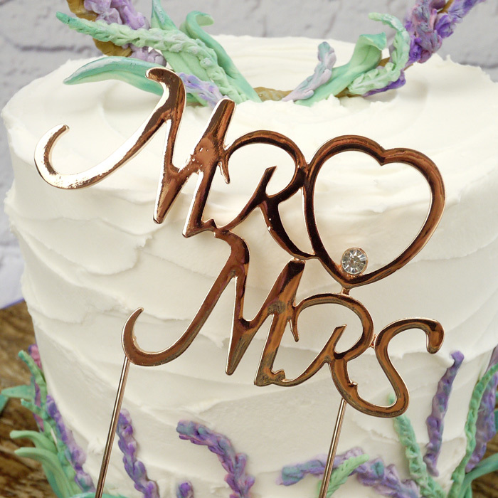 Large Mr & Mrs Rose Quartz Cake Topper With 2 Picks (CHECK IT'S CORRECT ITEM!) - image 1