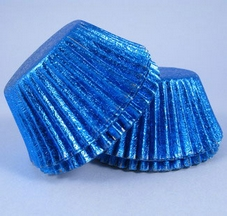 Metallic Royal Blue Embossed Muffin Cases