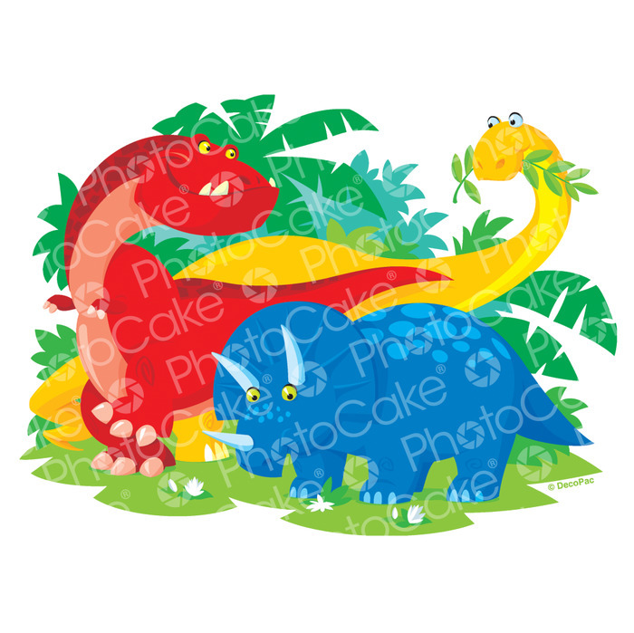 PhotoCake Trio of Dinosaurs Cake Topper (NO PHOTO)