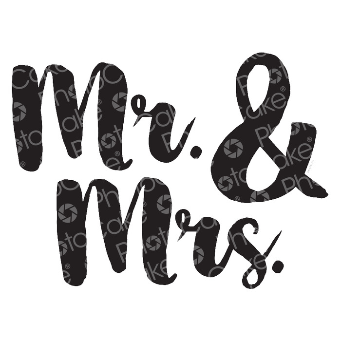 PhotoCake Mr & Mrs FONT 2 Cake Topper (NO PHOTO) - check correct font