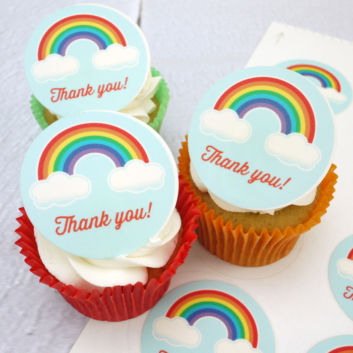 12 PhotoCake Rainbow & Clouds Cupcake Toppers (check email for msg)