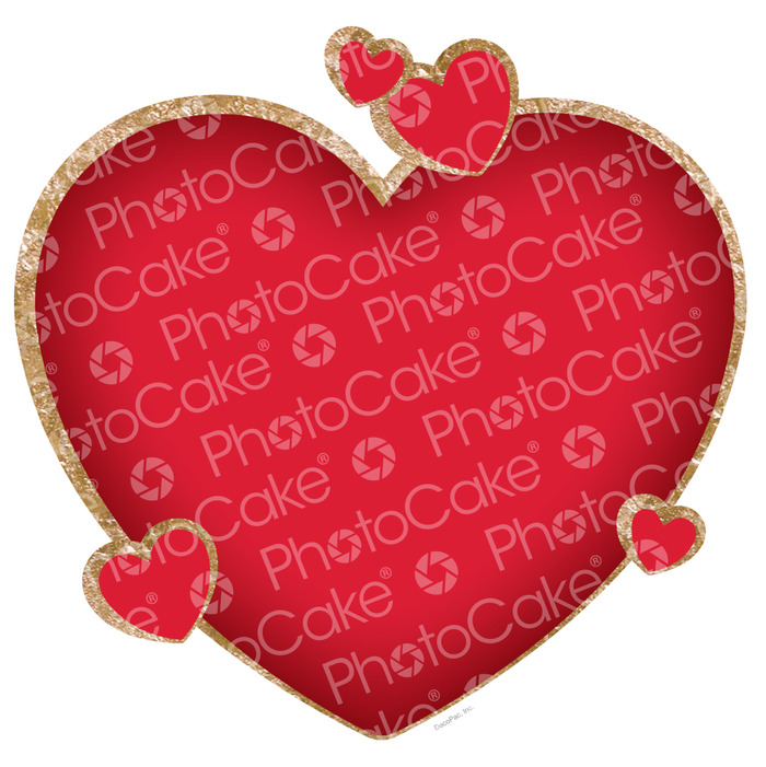 PhotoCake Red Heart Cake Topper (NO PHOTO)