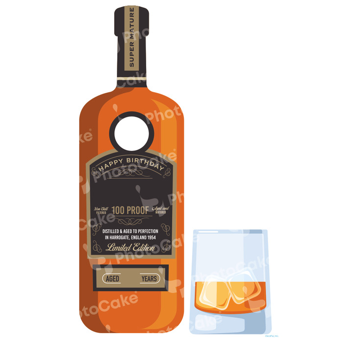 PhotoCake Whiskey Bottle Printed Cake Topper (NO PHOTO)