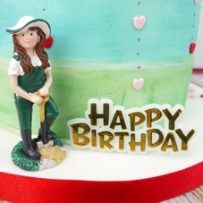 Female Gardener And Happy Birthday Cake Toppers